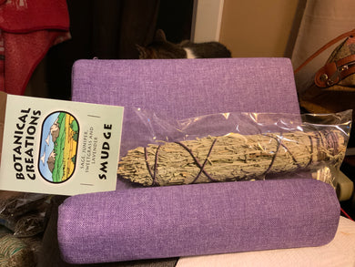 Sage, Juniper, Sweetgrass, & Lavender Smudge Bundle-Large-Packaged