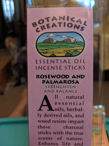 Botanical Creations-Rosewood Palmarosa Incense Sticks-20 sticks