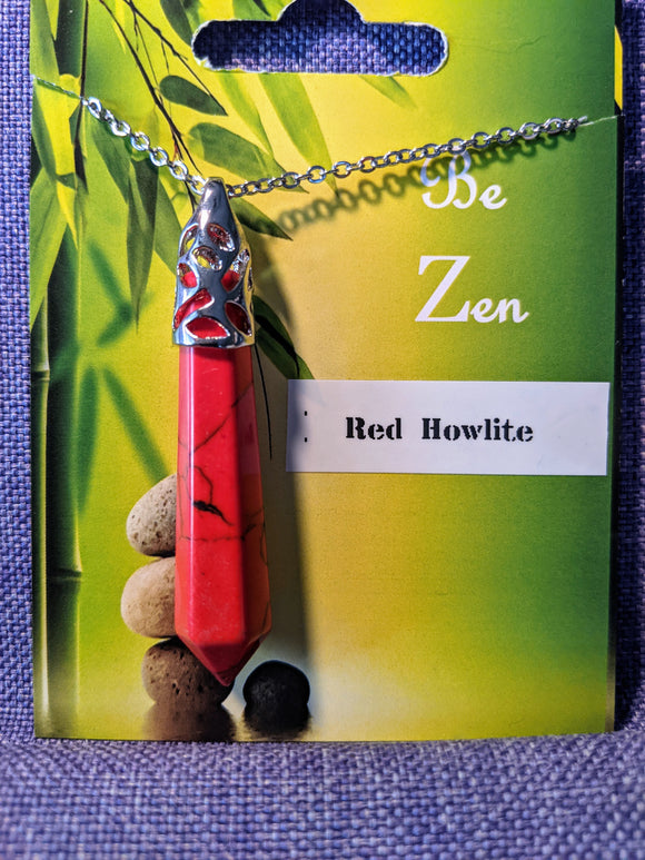 Large Pendulum Necklace-Red Howlite