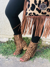 Load image into Gallery viewer, LEOPARD SIDE FRINGE ANKLE BOOTS