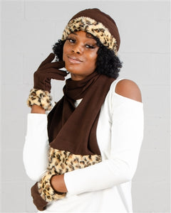 Faux Fur Trim Fleece Scarf, Hat, & Gloves 3pc Set