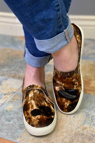 COWHIDE LEATHER PINE TOP MULTI COW PRINT SLIP ON TENNIS SHOE
