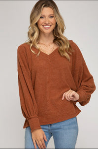 CINNAMON V-NECK LONG SLEEVE SWEATER TOP