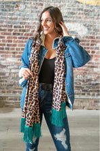 Load image into Gallery viewer, VINTAGE LEOPARD SCARF W/ JADE FRINGE