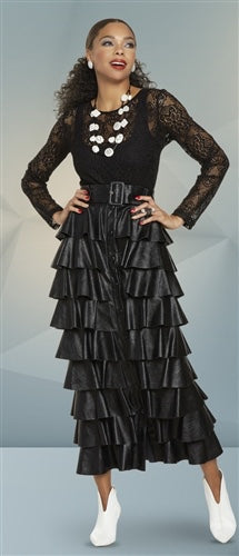Black Belted Tiered Skirt
