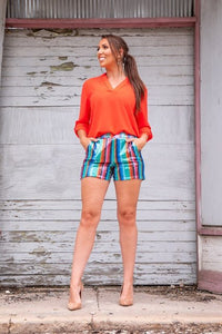 TURQUOISE SEQUIN SHORTS WITH SIDE POCKETS
