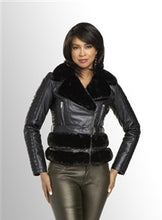 Load image into Gallery viewer, Black Faux Leather and Fur Jacket