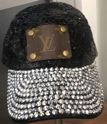 Black Sequin Upcycled Hat With RhineStones