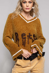 CAMEL FRINGE KNITTED SWEATER