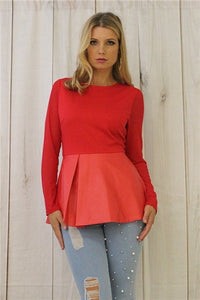 TOP PEPLUM SHEER SLV