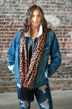 Load image into Gallery viewer, AMBER LEOPARD SCARF W/ BLACK FRINGE
