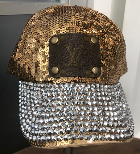 Gold Sequin Upcycled Hat With RhineStones
