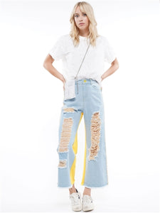 Blue/yellow Denim Pant