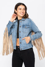 Load image into Gallery viewer, Denim Fringe Jacket