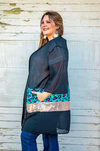 BLACK BLOCKED LEOPARD TURQUOISE PINK LEOPARD/ROSE GOLD SEQUIN KIMONO