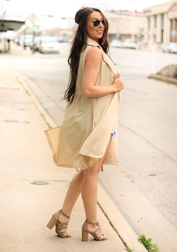 Beige Sleeveless Coat Duster