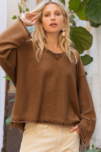 CHOCOLATE MULTI REVERSAL SWEATER