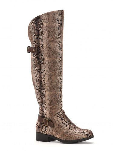 Brown Snake Pattern Over the Knee Boot