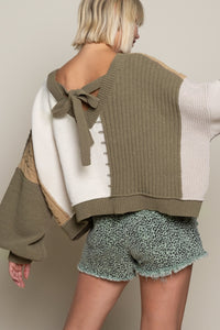 ALMOND/OLIVE MULTI SWEATER SWEATER