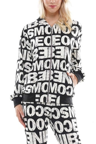PRINT HOODED JACKET