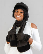 Load image into Gallery viewer, Faux Fur Trim Fleece Scarf, Hat, & Gloves 3pc Set