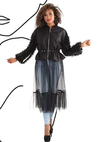 Ruffle Sleeve Duster with Zipper & Drawstring Waist