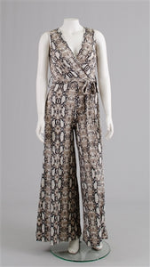 Sleeveless Jumpsuit Snake Print