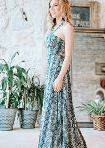 Snake Print Cross-Back Maxi Dress