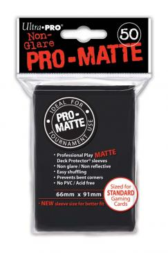 Black MATTE 50ct Standard Sleeves Ultra-Pro