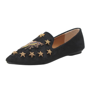 Summer Women's Flats Ladies Bee Embroidery Suede Shoes Soft Slip-On Casual Shoes