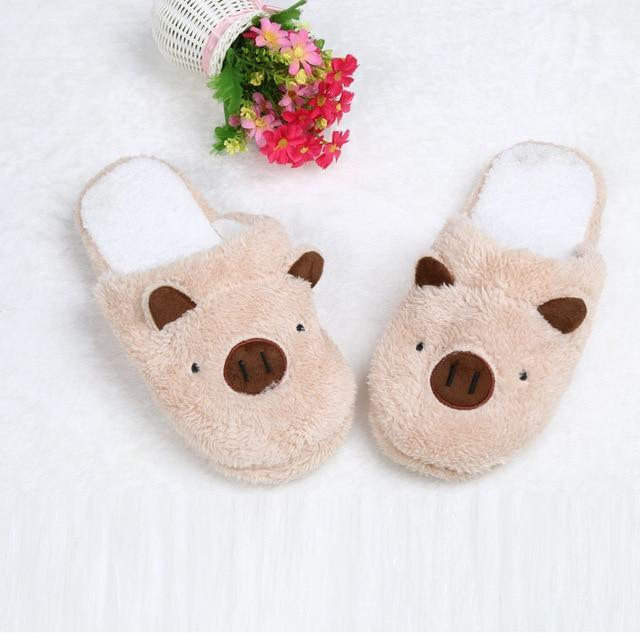 New Lovely Women Flip Flop Cute Pig Shape Home Floor Soft Stripe Slippers Shoes