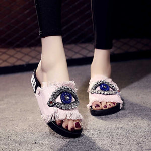 Summer Spring Ladies Crystal Flat Sandals Slippers Beach fashion