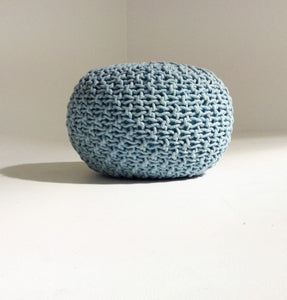 Handmade Round Knitted Pouf-shopsabrinabitton.com