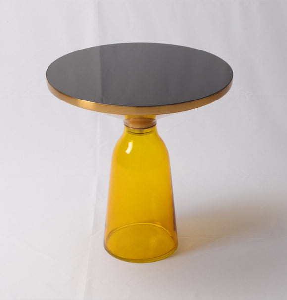 Material: Round table top of painted black glass + Aluminium alloy top frame with gold color + Hand-blown glass base-shopsabrinabitton.com
