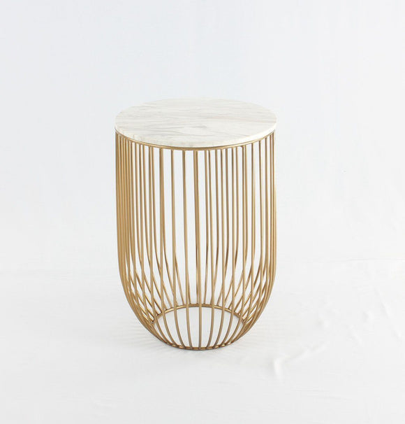 Moteki Mie Side Table - Carrara Marble Top & Gold Base-shopsabrinabitton.com