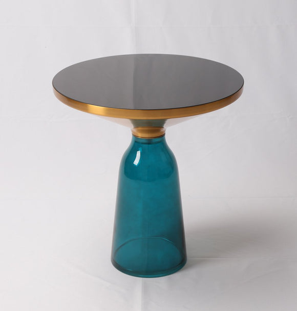 Round table top of painted b Mid Century lack glass + Aluminium alloy top frame with gold color + Handmade-shopsabrinabitton.com