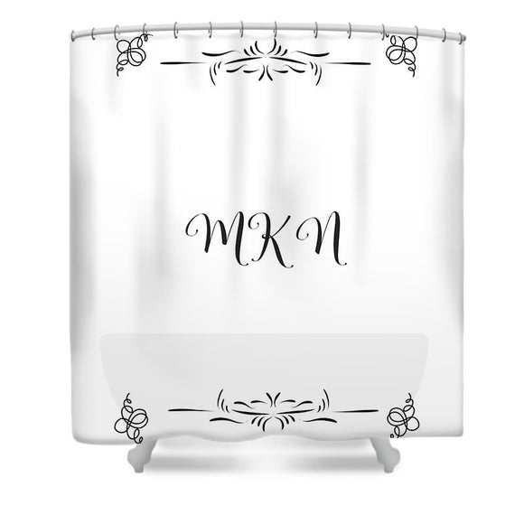 moteki living elegant custom shower curtain designer by sabrina bitton . customize your initials on your shower curtain .motekiliving.com