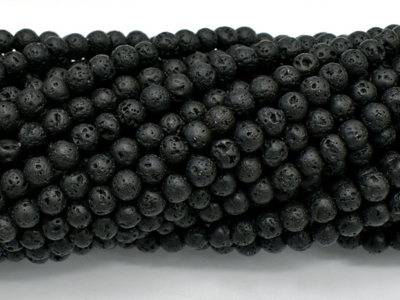 Black Lava Beads, Round, 4mm-BeadBeyond