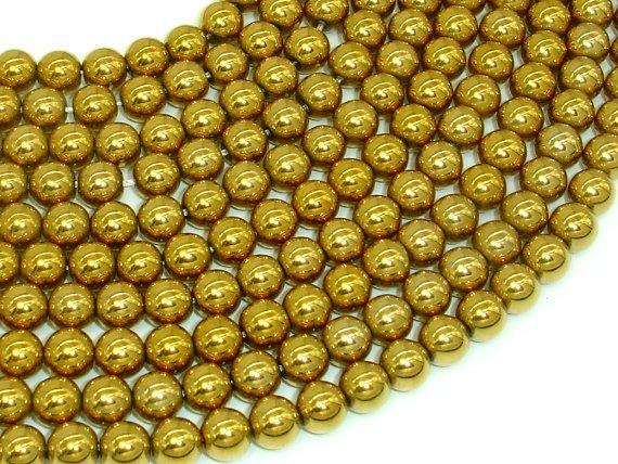 Hematite Beads-Gold, 8mm Round Beads-BeadBeyond
