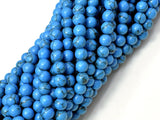 Howlite Turquoise Beads, Blue, 6mm Round Beads-BeadBeyond