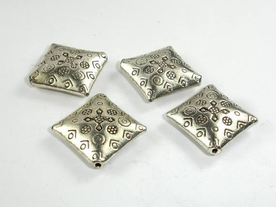 Metal Spacer, Square Spacer, Zinc Antique Silver Tone, 22x22x6mm, 5 pcs-BeadBeyond