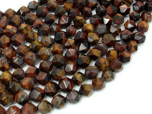 Red Tiger Eye, 8mm Star Cut Faceted Round-BeadBeyond