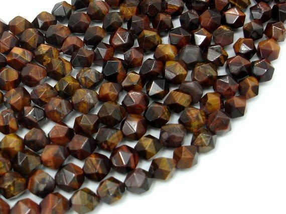 Red Tiger Eye, 8mm Star Cut Faceted Round