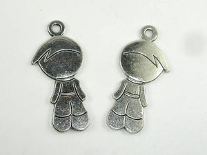 Boy Charms, Boy Pendant, Zinc Alloy, Antique Silver Tone, 18x40 mm, 5 pcs
