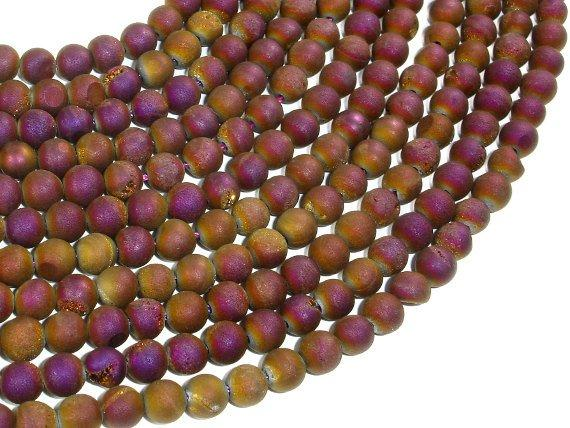 Druzy Agate Beads, Purple Gold Geode Beads, 6mm (6.5 mm) Round-BeadBeyond