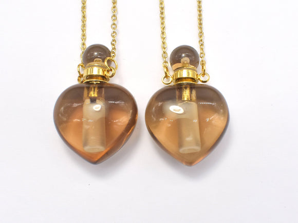 Smoky Quartz Essential Oil Bottle Necklace