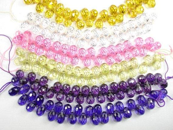 CZ beads, 6 x 9 mm Faceted Teardrop-BeadBeyond