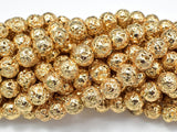 Lava-Gold Plated, 8mm (8.5mm) Round-BeadBeyond