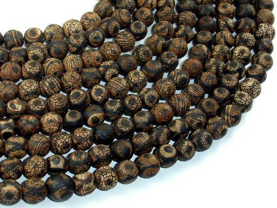 Crackle Tibetan Agate, 8mm(7.8mm) Round-BeadBeyond