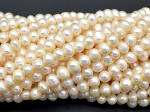 Fresh Water Pearl Beads-White, Approx 5-6mm Potato Beads-BeadBeyond
